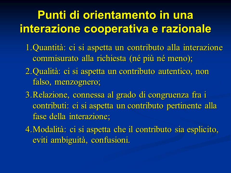 Punti di orientamento in una interazione cooperativa e razionale