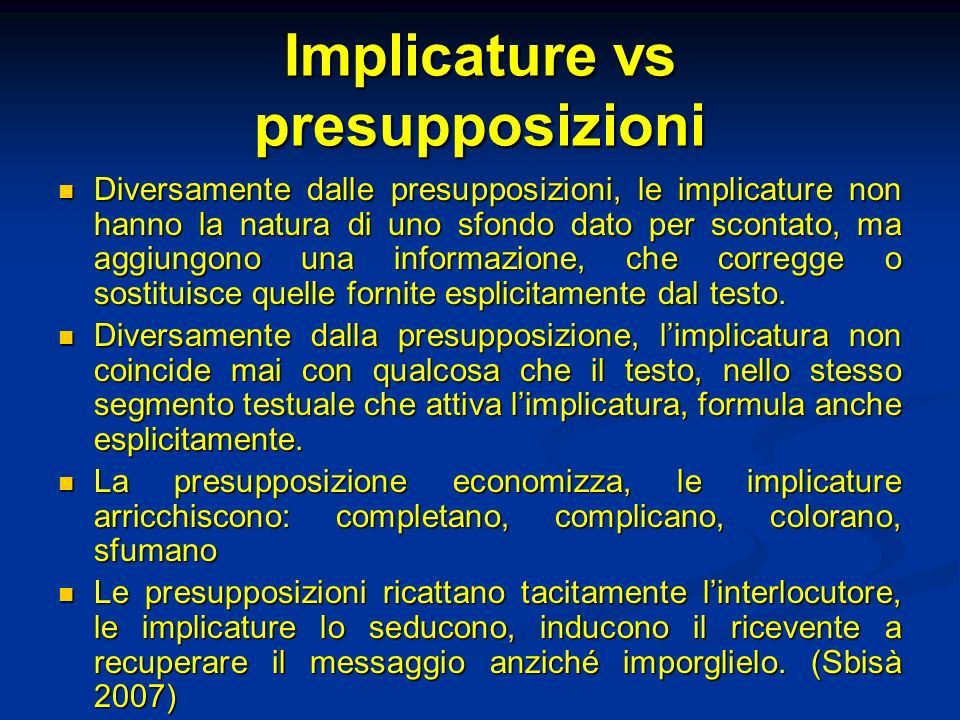 Implicature vs presupposizioni