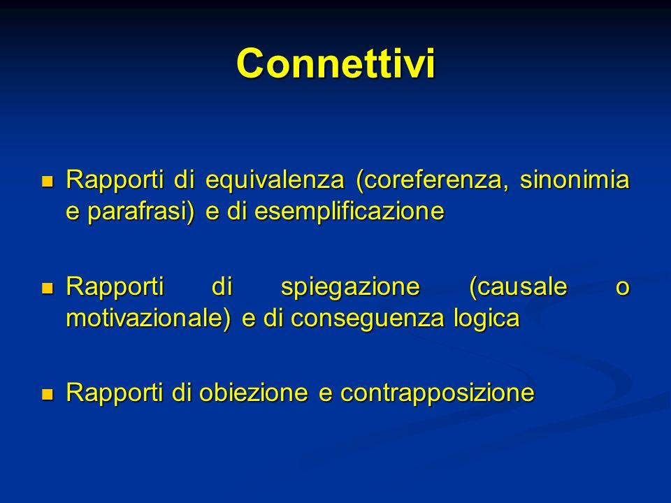 Connettivi Rapporti di equivalenza (coreferenza, sinonimia e parafrasi) e di esemplificazione.