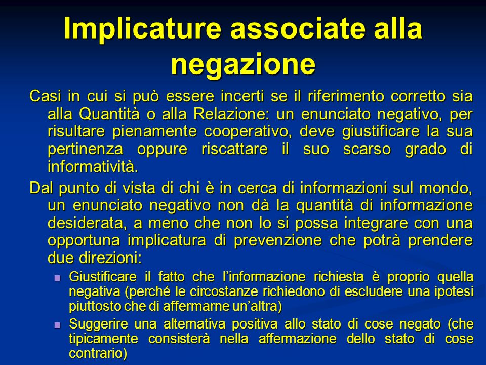 Implicature associate alla negazione