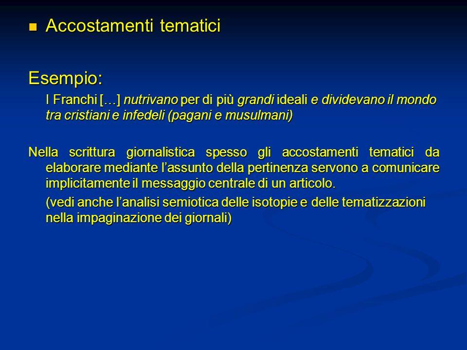 Accostamenti tematici Esempio: