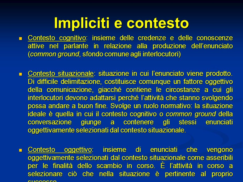 Impliciti e contesto