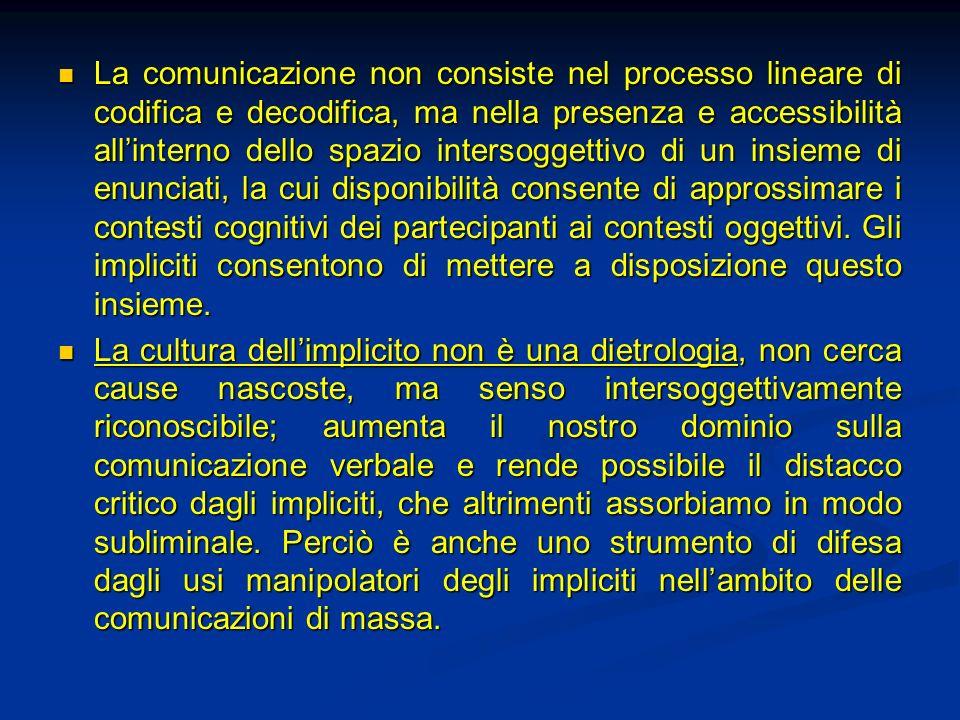 La comunicazione non consiste nel processo lineare di codifica e decodifica, ma nella presenza e accessibilità all'interno dello spazio intersoggettivo di un insieme di enunciati, la cui disponibilità consente di approssimare i contesti cognitivi dei partecipanti ai contesti oggettivi. Gli impliciti consentono di mettere a disposizione questo insieme.