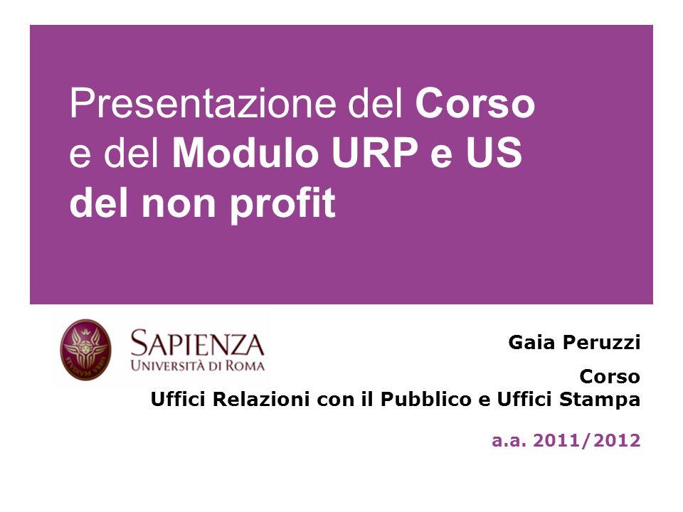Presentazione del Corso e del Modulo URP e US del non profit