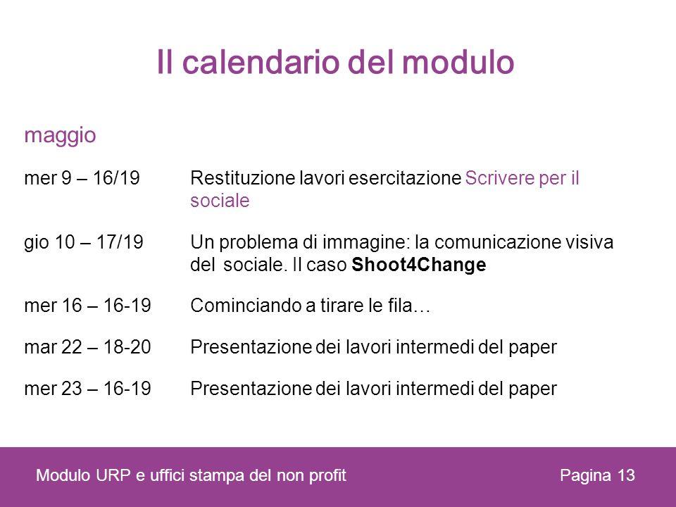 Il calendario del modulo