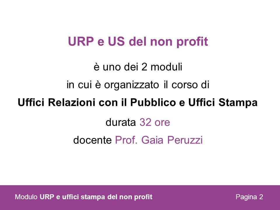 URP e US del non profit è uno dei 2 moduli