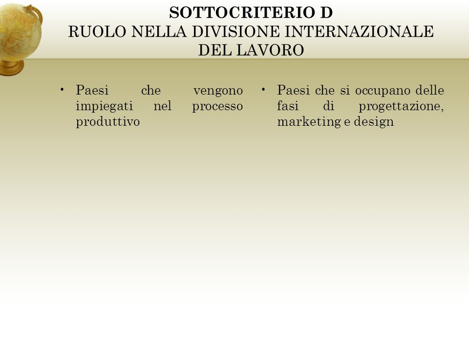 SOTTOCRITERIO D RUOLO NELLA DIVISIONE INTERNAZIONALE DEL LAVORO