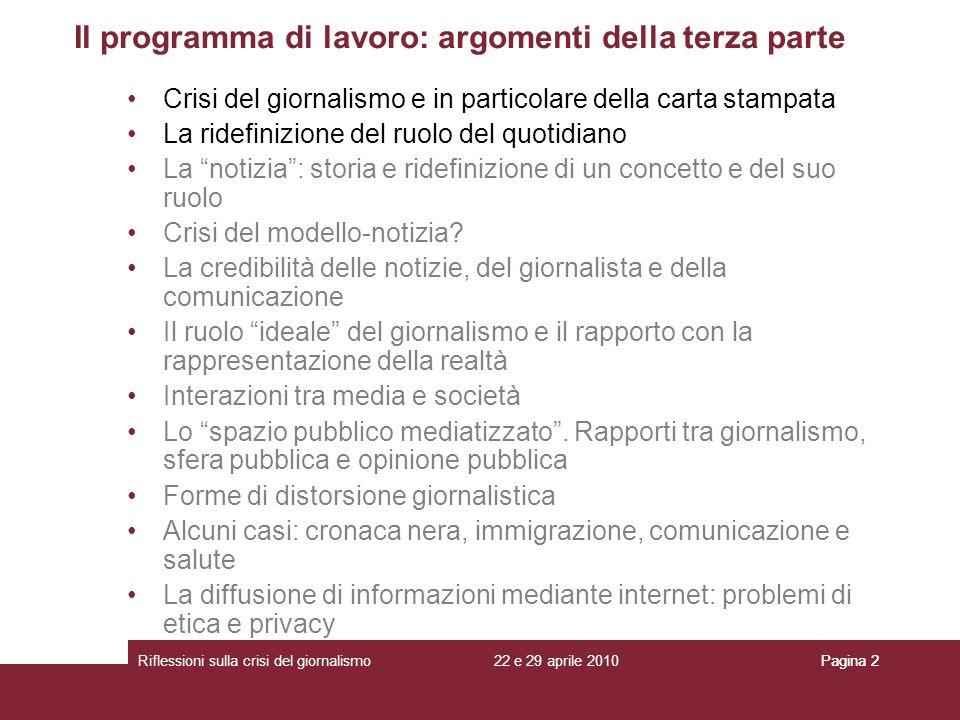 Il programma di lavoro: argomenti della terza parte
