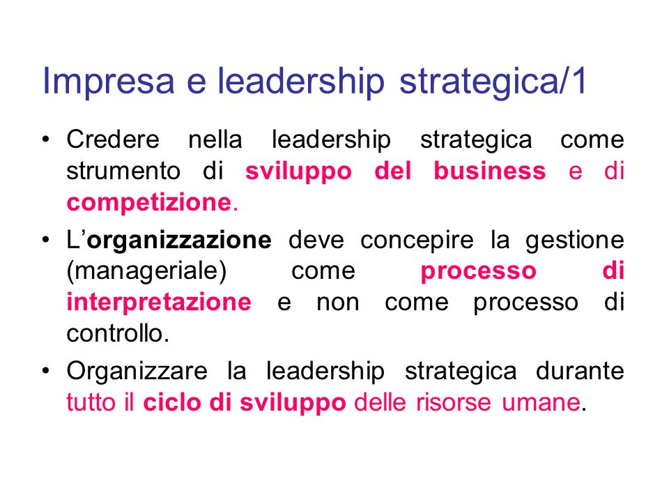 Impresa e leadership strategica/1