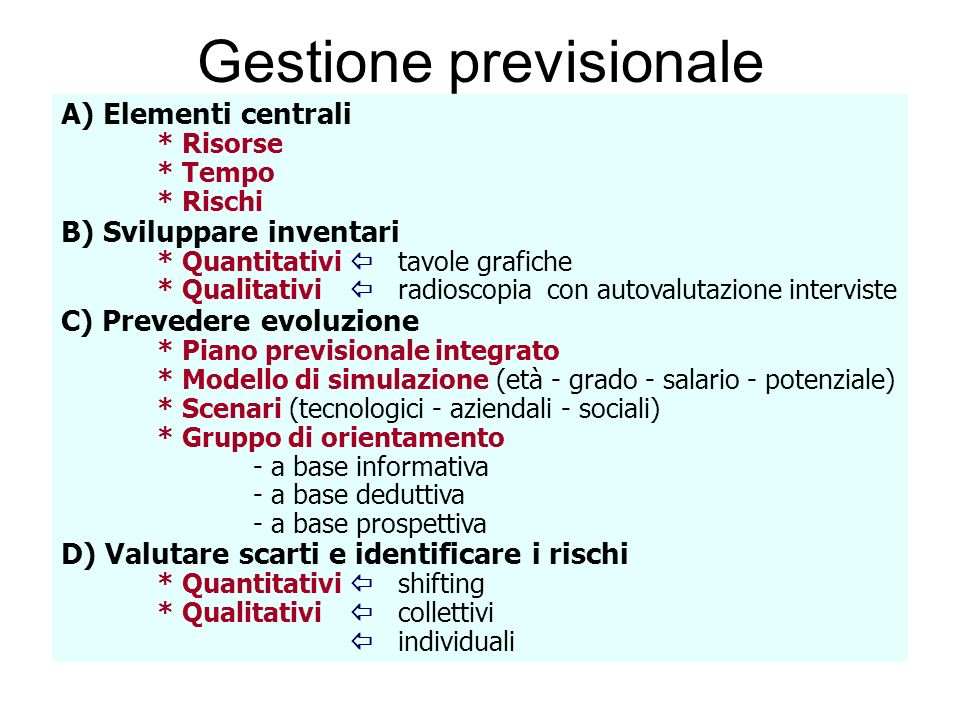 Gestione previsionale