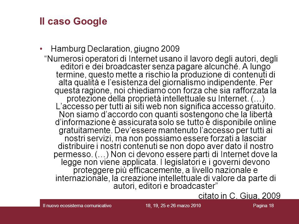 Il caso Google Hamburg Declaration, giugno 2009