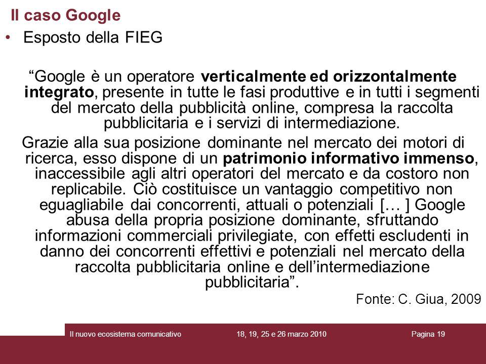 Il caso Google Esposto della FIEG