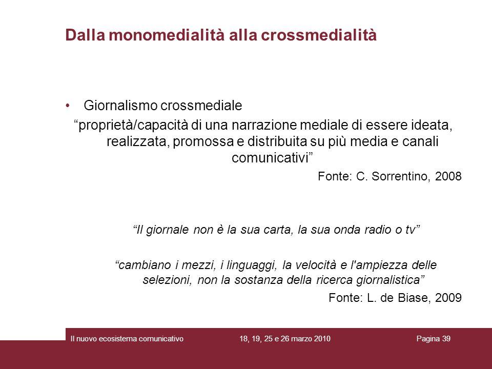 Dalla monomedialità alla crossmedialità