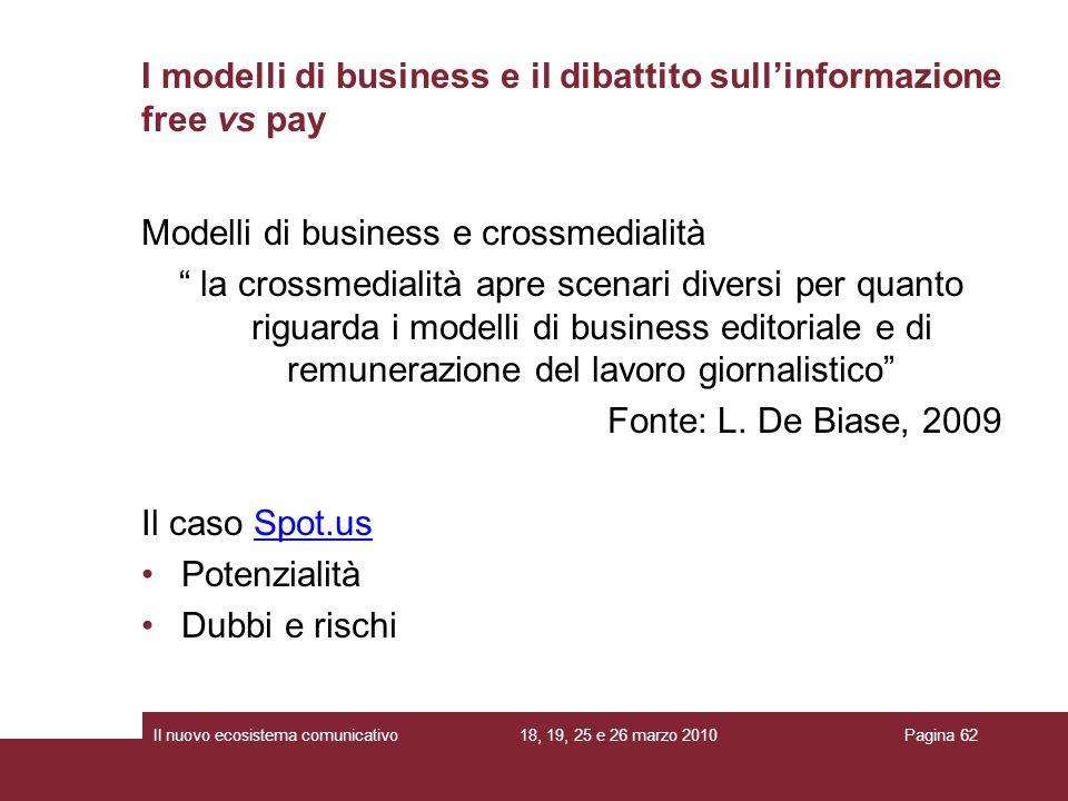 I modelli di business e il dibattito sull'informazione free vs pay