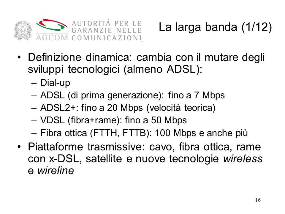 La larga banda (1/12) Definizione dinamica: cambia con il mutare degli sviluppi tecnologici (almeno ADSL):
