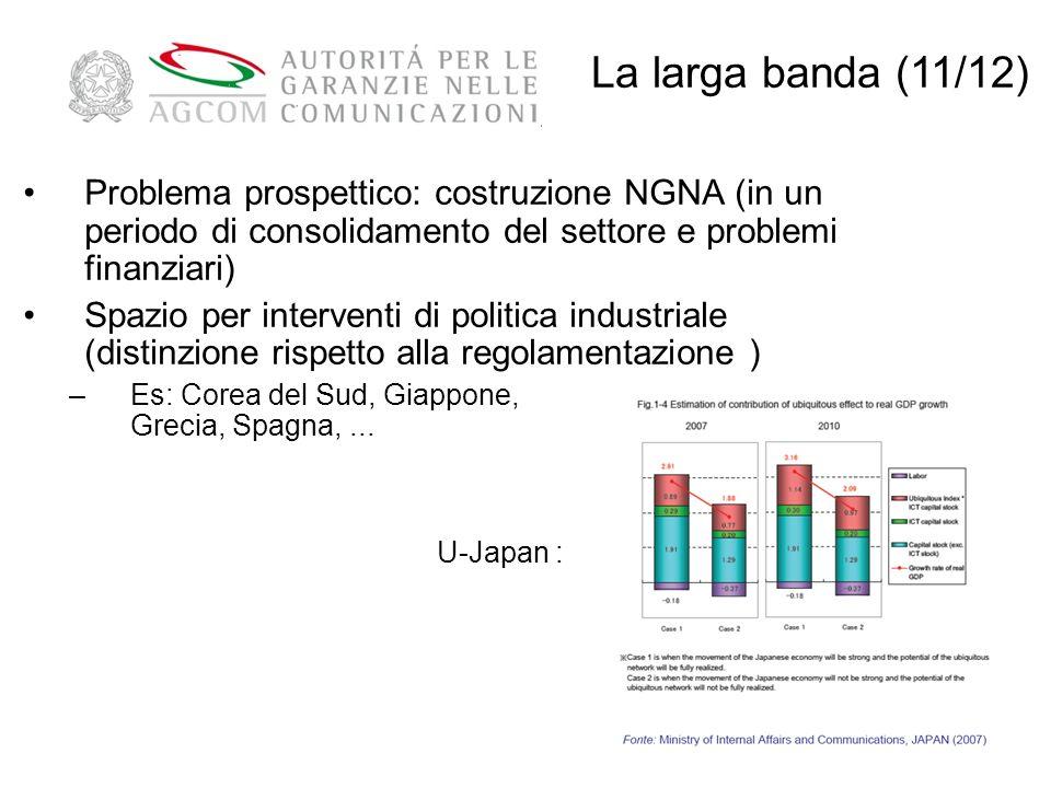 La larga banda (11/12) Problema prospettico: costruzione NGNA (in un periodo di consolidamento del settore e problemi finanziari)