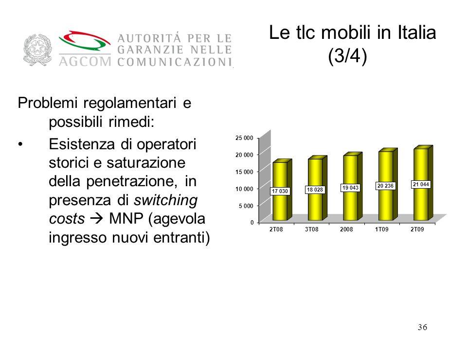 Le tlc mobili in Italia (3/4)