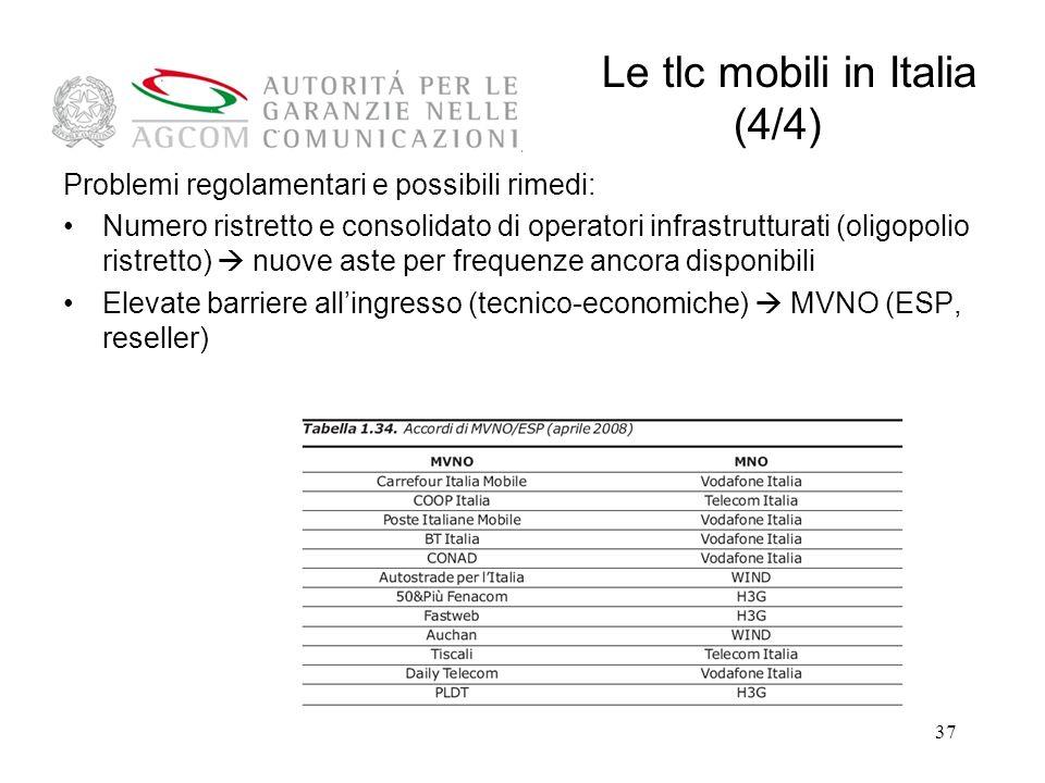 Le tlc mobili in Italia (4/4)