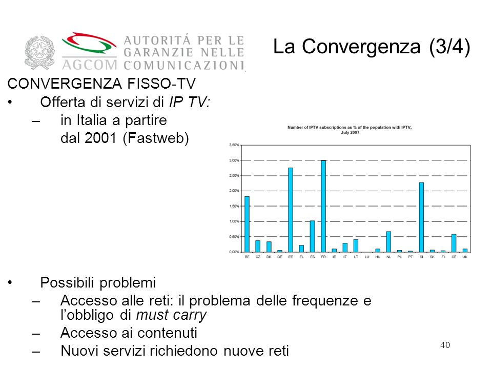 La Convergenza (3/4) CONVERGENZA FISSO-TV Offerta di servizi di IP TV: