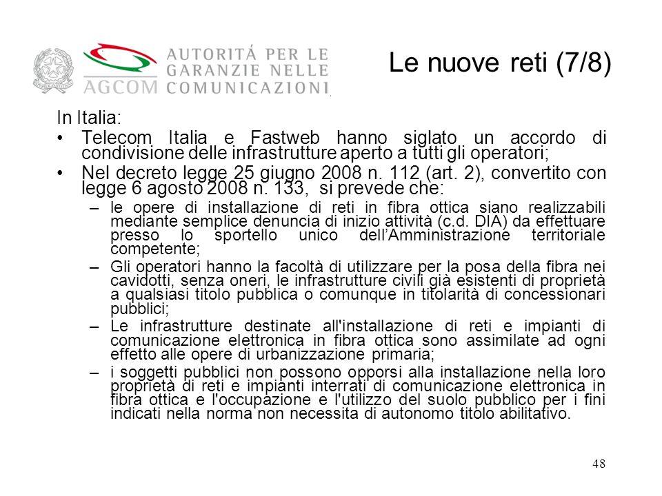Le nuove reti (7/8) In Italia: