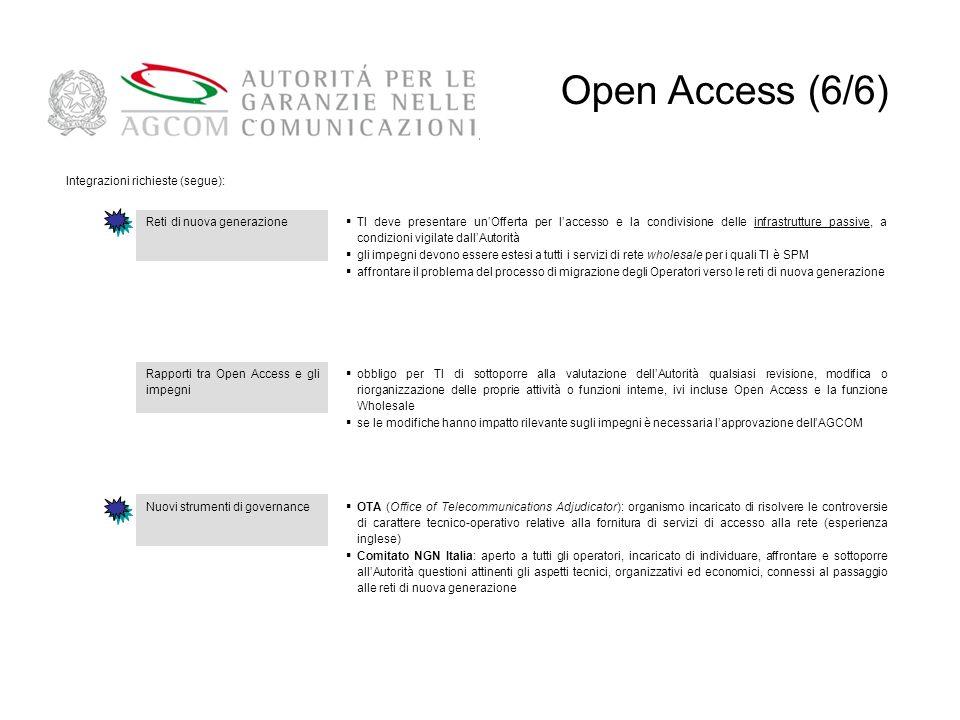 Open Access (6/6) 55 Integrazioni richieste (segue):