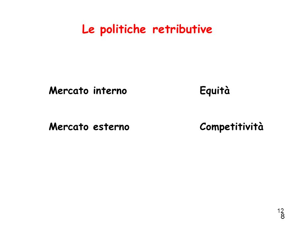 Le politiche retributive