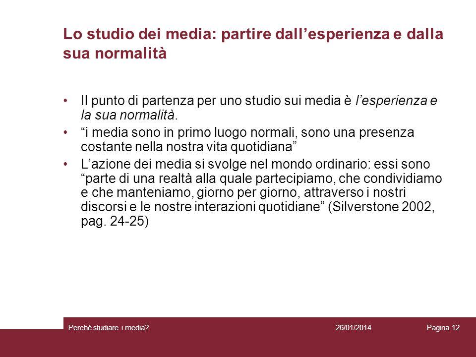 Lo studio dei media: partire dall'esperienza e dalla sua normalità