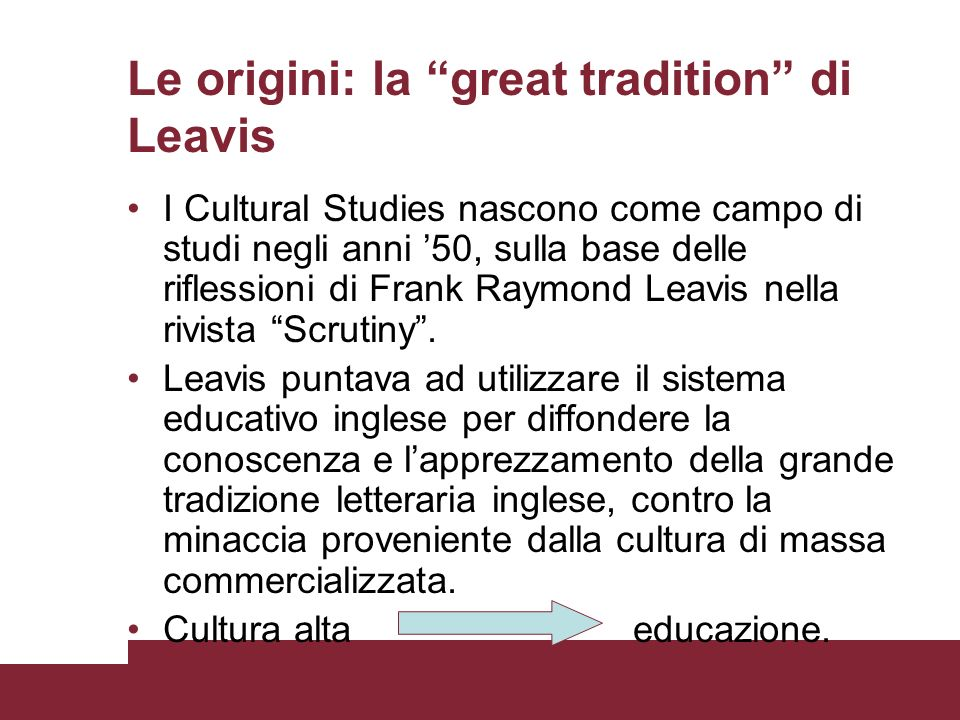 Le origini: la great tradition di Leavis