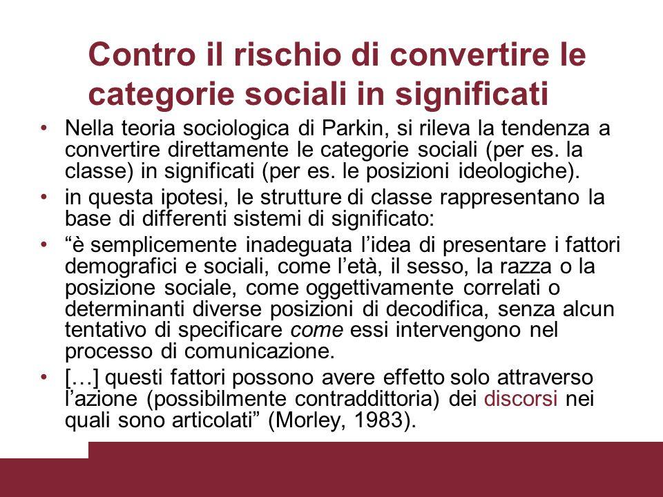 Contro il rischio di convertire le categorie sociali in significati