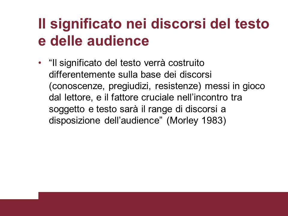 Il significato nei discorsi del testo e delle audience