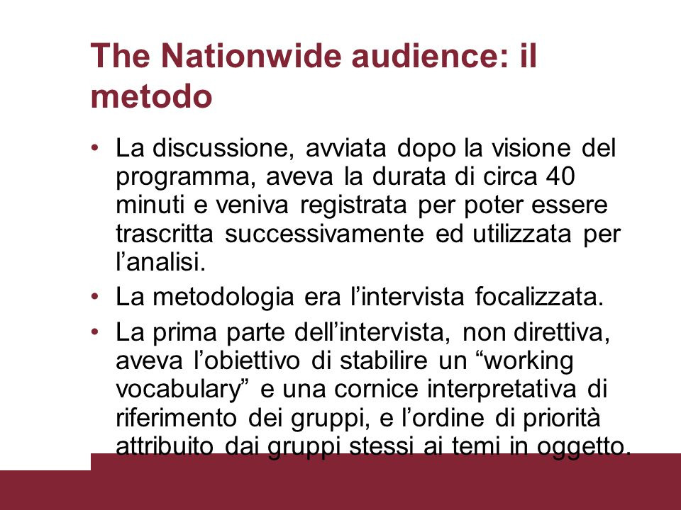 The Nationwide audience: il metodo
