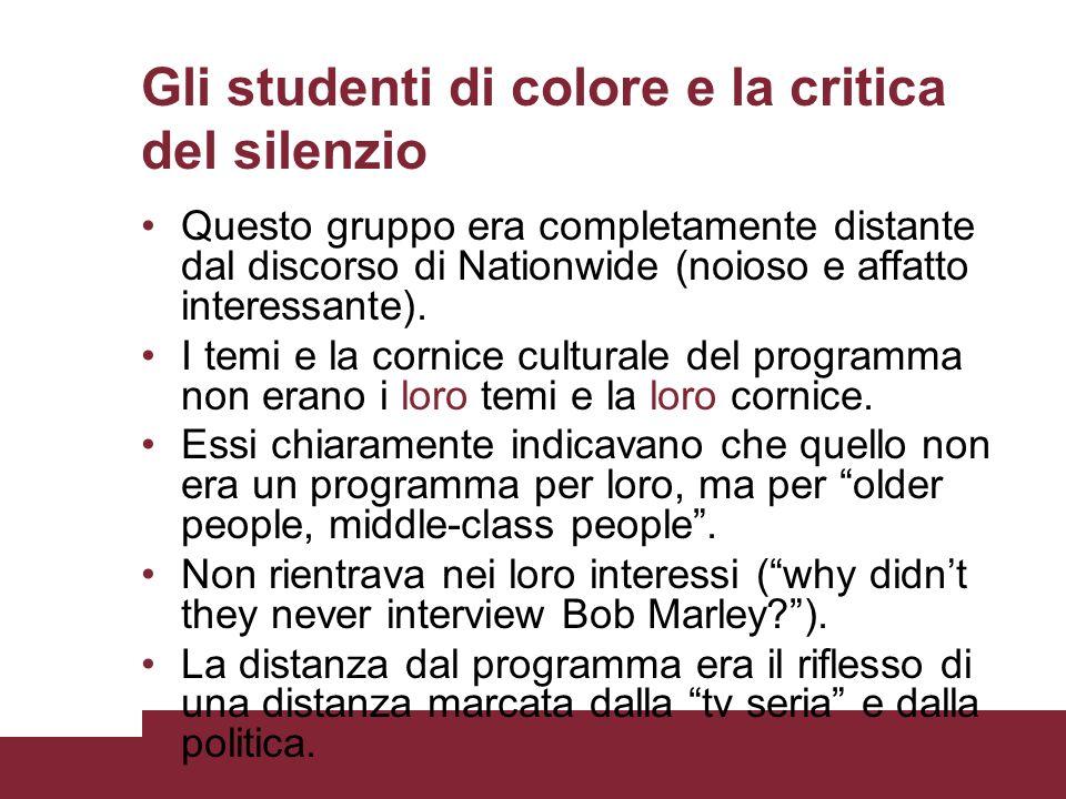 Gli studenti di colore e la critica del silenzio