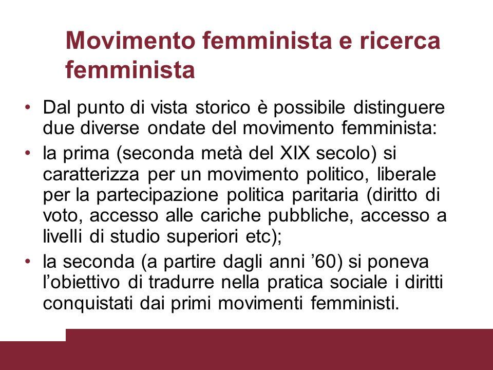 Movimento femminista e ricerca femminista