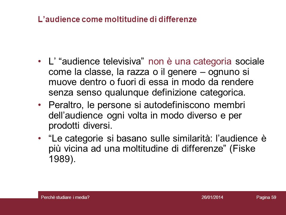 L'audience come moltitudine di differenze