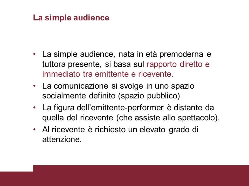La simple audienceLa simple audience, nata in età premoderna e tuttora presente, si basa sul rapporto diretto e immediato tra emittente e ricevente.