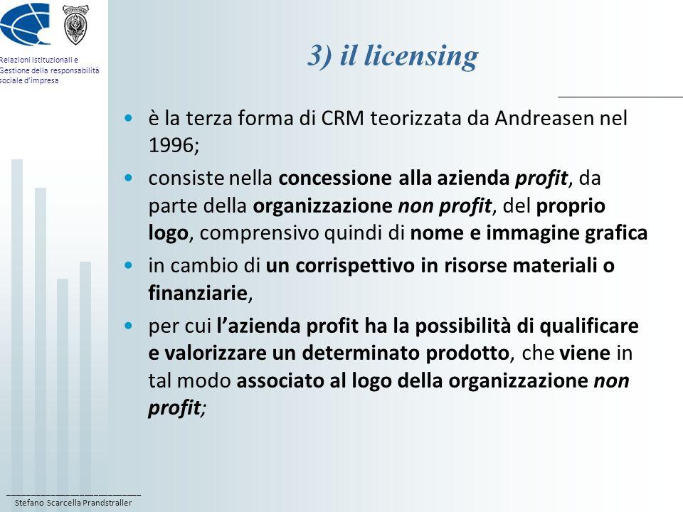 3) il licensing è la terza forma di CRM teorizzata da Andreasen nel 1996;