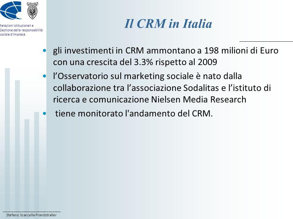 Il CRM in Italia gli investimenti in CRM ammontano a 198 milioni di Euro con una crescita del 3.3% rispetto al 2009.