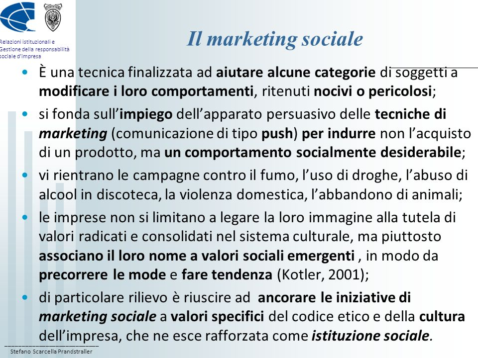 Il marketing sociale