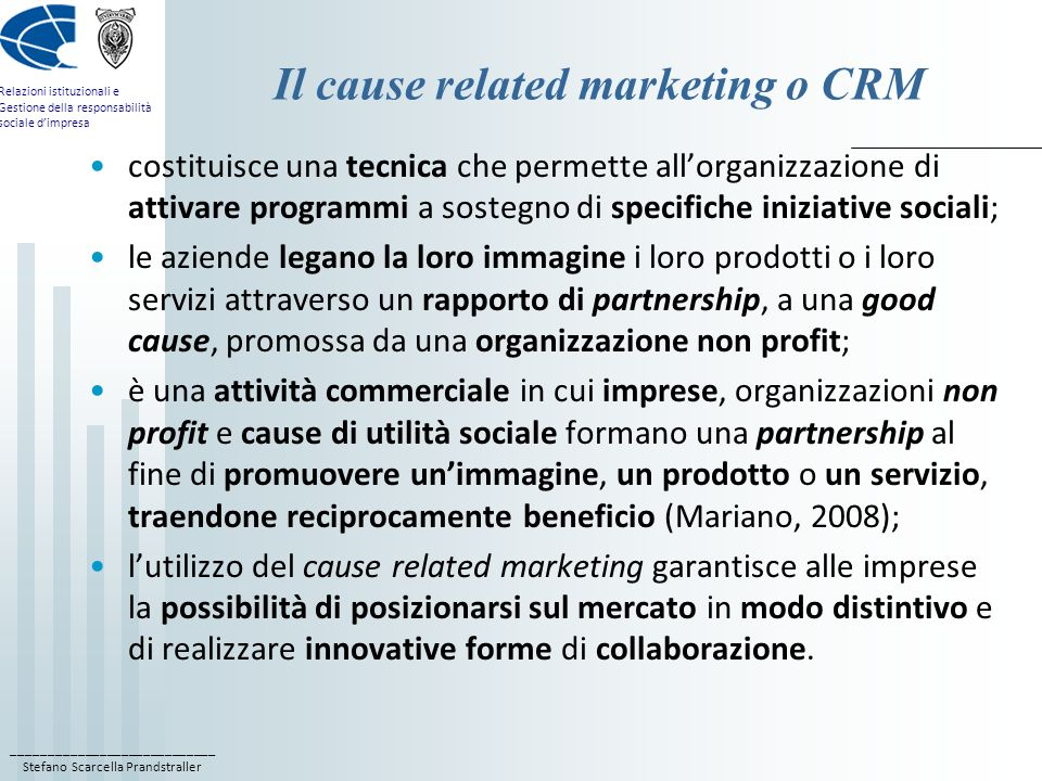 Il cause related marketing o CRM