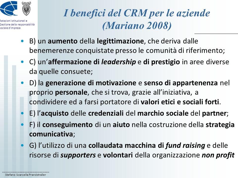 I benefici del CRM per le aziende (Mariano 2008)