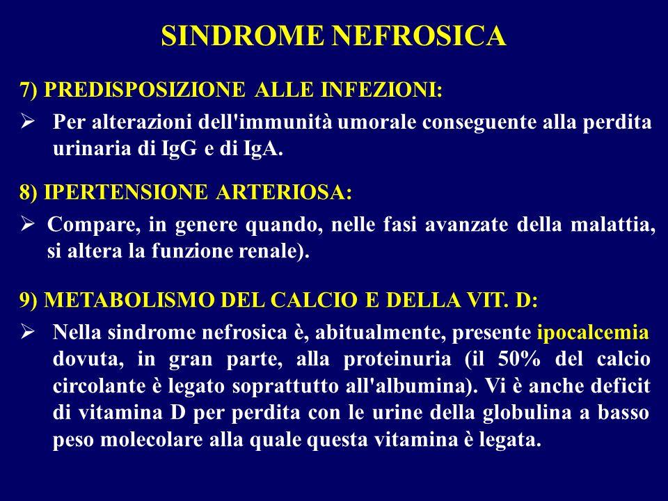 SINDROME NEFROSICA 7) PREDISPOSIZIONE ALLE INFEZIONI: