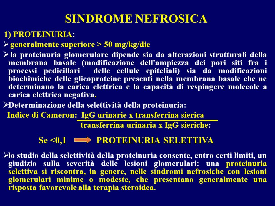SINDROME NEFROSICA Se <0,1 PROTEINURIA SELETTIVA
