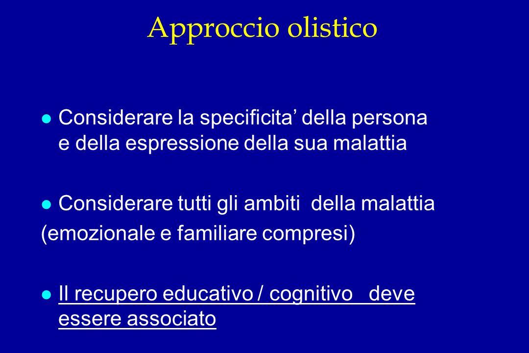 Approccio olistico Considerare la specificita' della persona e della espressione della sua malattia.