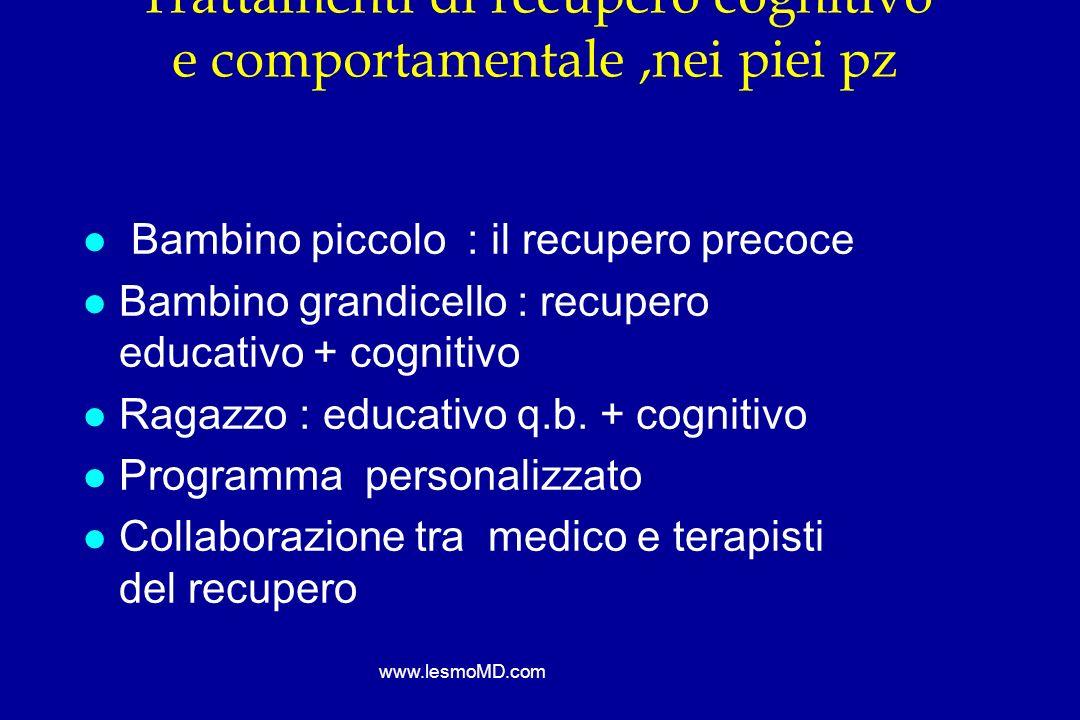 Trattamenti di recupero cognitivo e comportamentale ,nei piei pz