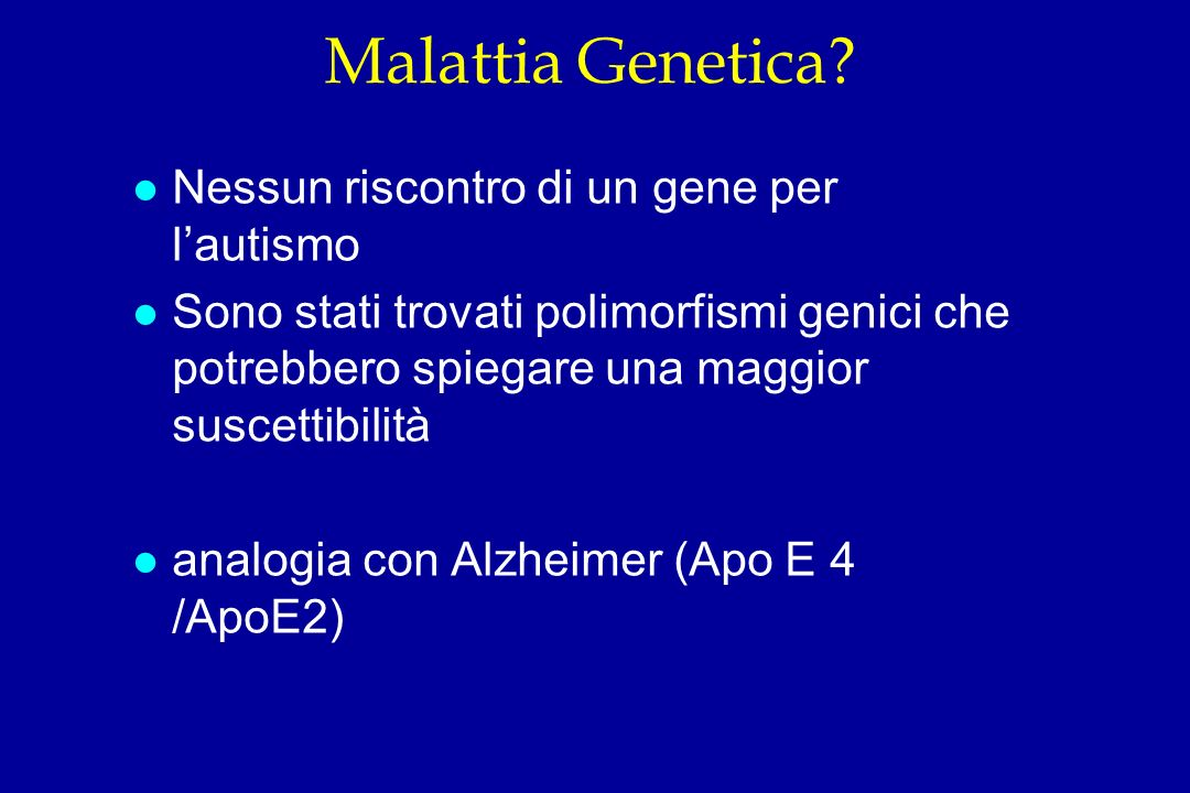 Malattia Genetica Nessun riscontro di un gene per l'autismo