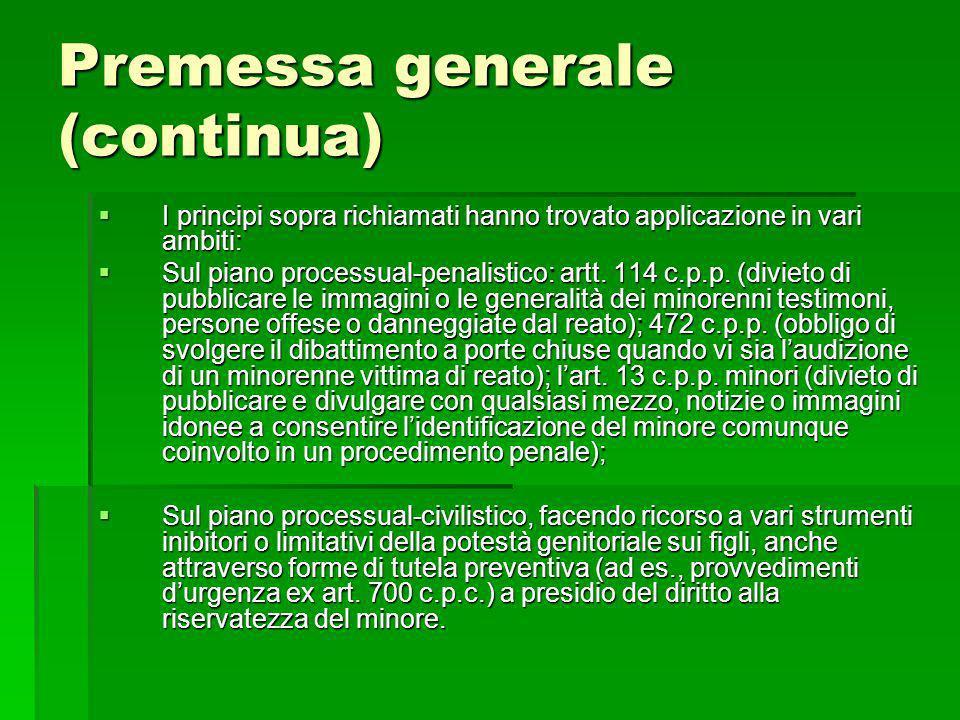 Premessa generale (continua)