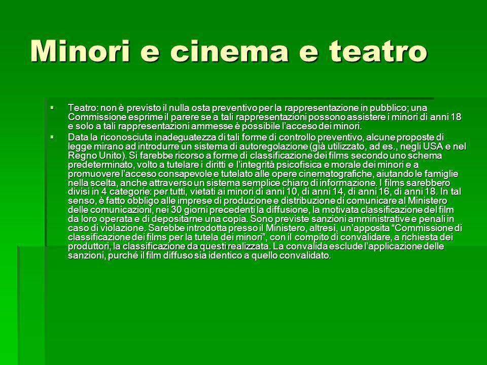 Minori e cinema e teatro