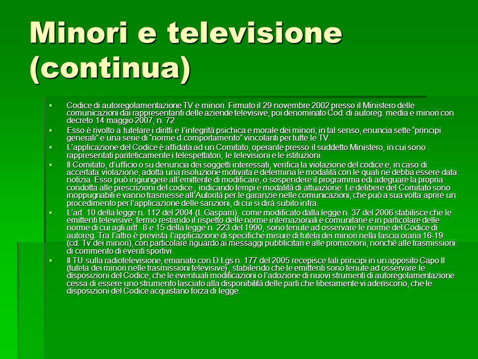 Minori e televisione (continua)
