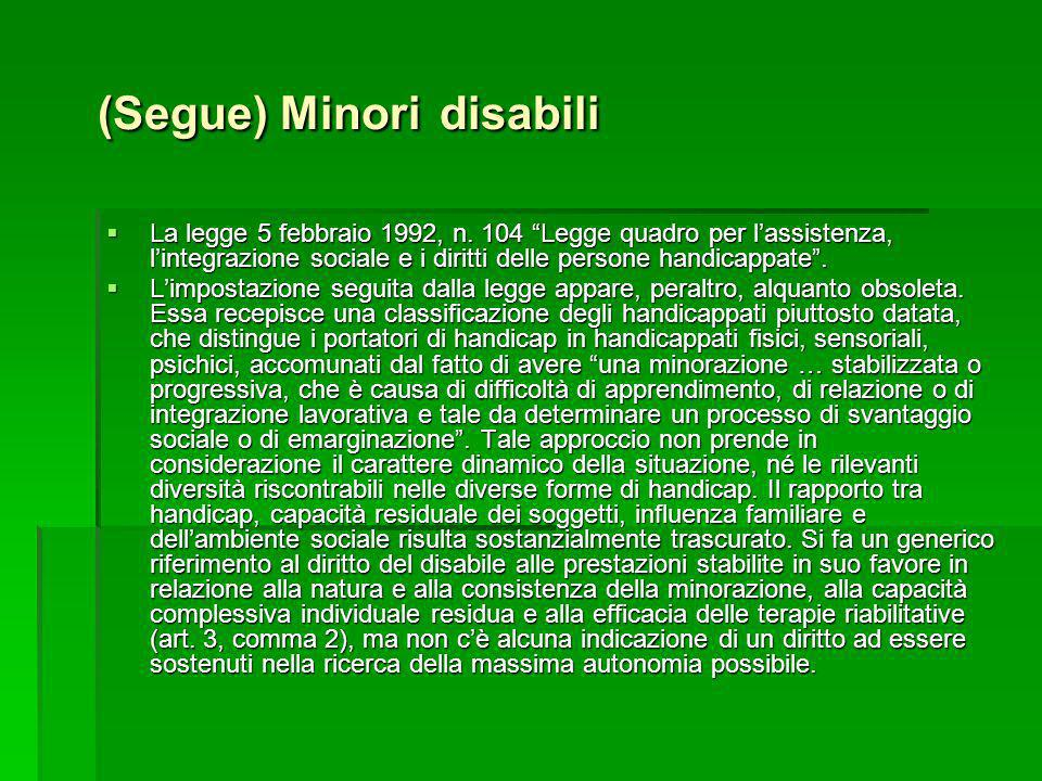 (Segue) Minori disabili