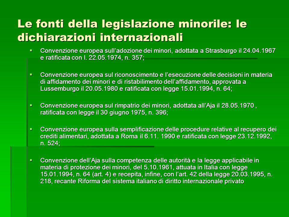 Le fonti della legislazione minorile: le dichiarazioni internazionali